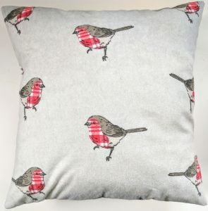 "16"" Brushed Cotton Robin Cushion Cover"